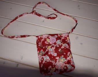 Kids cotton floral shoulder bag