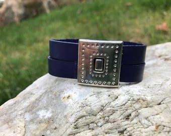 Navy blue 7.5 inch leather cuff bracelet #5