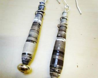 Handmade earrings with enameled paper pendant