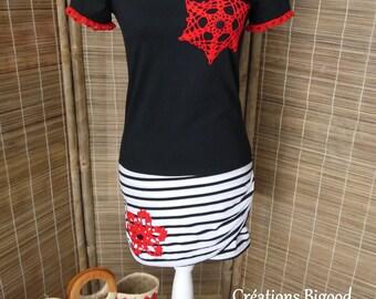 Customized Navy tunic, black and white crochet