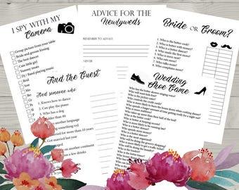 5 Wedding Reception Games, Printable Wedding Reception Game, Fun Wedding Game, Creative Wedding Activities