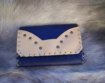 Wallet leather plum and beige with card holder, very practical and functional, for men or women