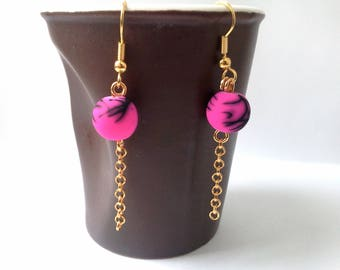 "Dangle earrings ""mottled"" - black speckled fuchsia"