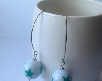"Earrings ""perletoilee"" - white and Emerald"
