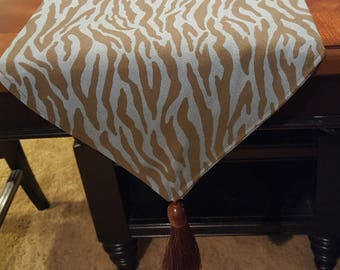 Animal Print Table Runner/Dresser Scarf With Tassel