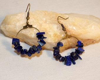 Lapis lazuli chips earrings