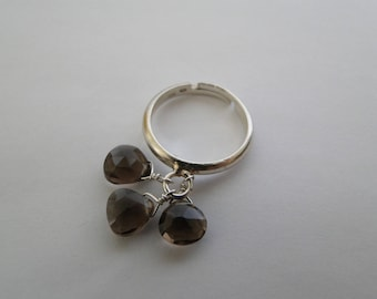 Ring 925 sterling silver and smoky quartz drop charm