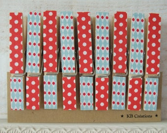 9 clips linens decorated (No. 60) Red & turquoise
