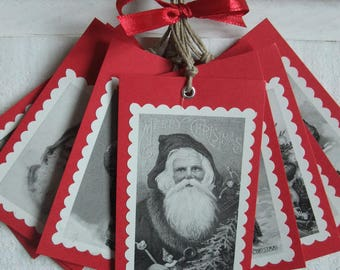 Set of 10 labels Christmas (No. 8) Vintage / Red