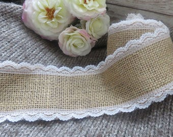 6cm white lace adorned with burlap Ribbon