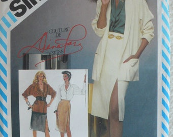 Women's Skirt, Blouse and Jacket Pattern, Diana Ross Designs, Vintage Simplicity 6326 - Size 16