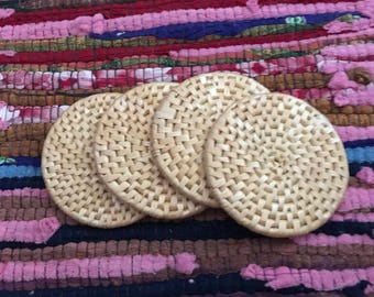 Set of 4 Straw Woven Coasters