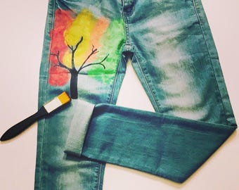 Jeans with colored tree