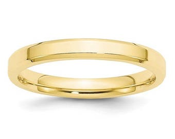 New 10K Solid Yellow Gold 3mm Comfort Fit Bevel Edge Wedding Band Ring Sizes 4-14