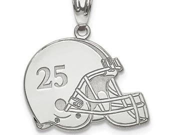 "Personalized Sterling Silver Free Name And Number Laser-Engraved Football Helmet Pendant Charm1""x1""Free 16,18,20"" Sterling Silver Box Chain."