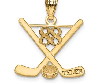 "Personalized Gold Plated over Sterling Silver Free Name And Number Laser-Engraved Hockey Pendant Charm 1"" x 1"" Free 16,18, or 20"""