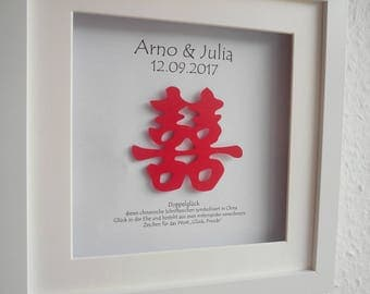 Personalized Wedding gift, picture frame, Chinese character, double luck