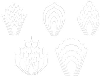 Paper Flower Template SVG Clipart DIY Instant Download Paper Flowers Quill Kit Paper Printable Quilling Cricut Cutting File DIY Flowers