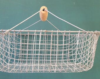Vintage Eisenkorb Basket Potato basket basket with wooden basket with handle