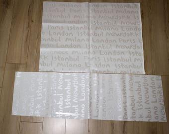 Cream set Z 2 falls leatherette - large size - pattern cities and colors - DESTASH