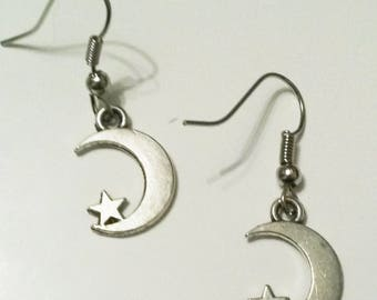 silver charms earrings Moon and Star