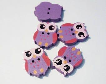 "Lot 5 buttons ""owls"" / ""owls"" wooden, purple"