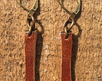 Small Leather Rectangle Dangle Earrings