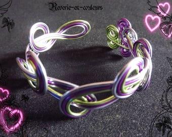 """Adult tri-color """"Candy"""" aluminum Wire Bracelet"""