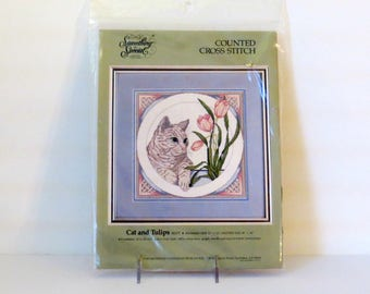 Cat and Tulips Counted Cross Stitch Kit by Something Special Green Eyed Handsome Tabby Cat Pink Tulips Vintage Factory Sealed Kit #50377