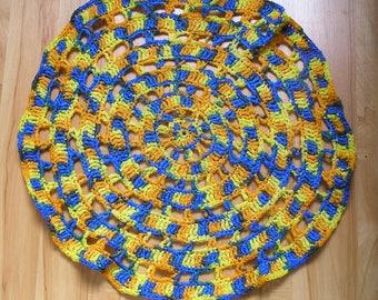 round yellow orange blue Hooked rug handmade