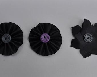 Black Flower Bows