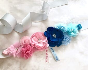 Boy or Girl/Sash/Maternity/Gender Reveal/Maternity Sash/Pregnancy/Baby Shower/ Keepssake/Gift