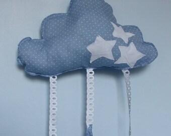 """Cloud grey/blue light Navy """"starry dreams"""" pillow"""