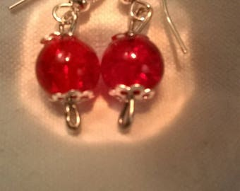 Beaded Silver earrings with transparent red glass