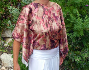 PINK BROWN FEATHERS KIMONO SLEEVE TOP SATIN
