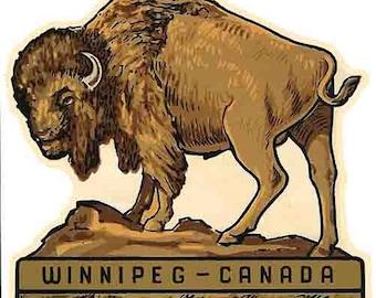 Vintage Style Winnipeg Canada  Travel Decal sticker
