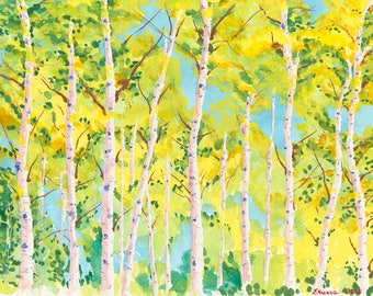 Aspen Gold Original Watercolor Painting on Arches Paper