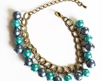 Bronze, blue and turquoise Beads Bracelet