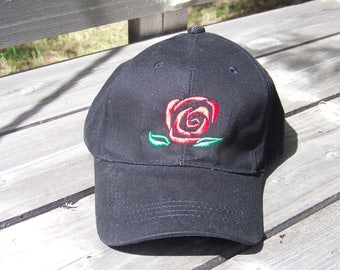 Red Rose on Black Hat