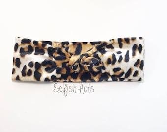 Leopard velvet knot-tie headband