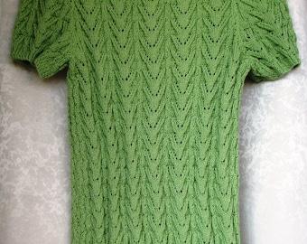 Knitted top women/ Summer top/ Cotton top/ Green top