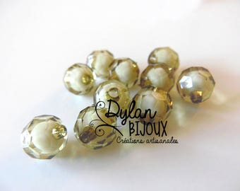 Faceted acrylic bead 10 mm / Khaki / Black