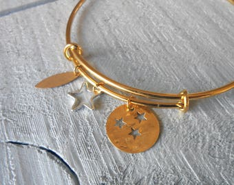 Bangle gold/silver, multi sequin star