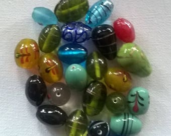 Set of worked glass beads