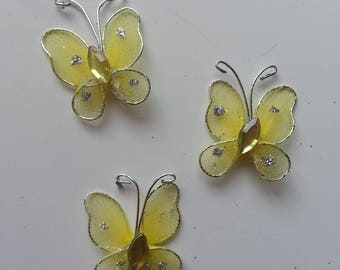 lot de 3 minis papillons jaune et argent 25*25mm