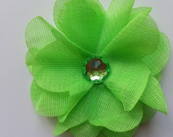 fleur en mousseline  verte et strass  50mm
