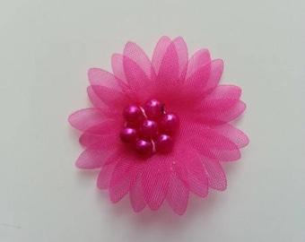 double fleur  voile  rose fuchsia 30mm