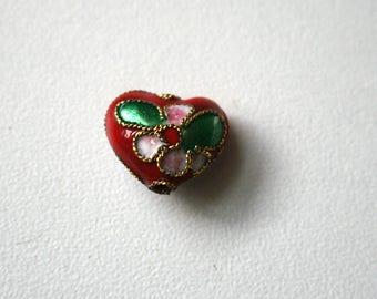 Red heart 10 mm x 12 mm cloisonné heart bead