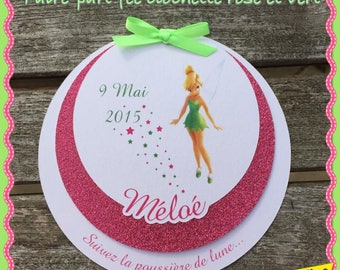 Announcements baptism themed Tinkerbell round