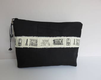 Black linen with vintage Ribbon pouch